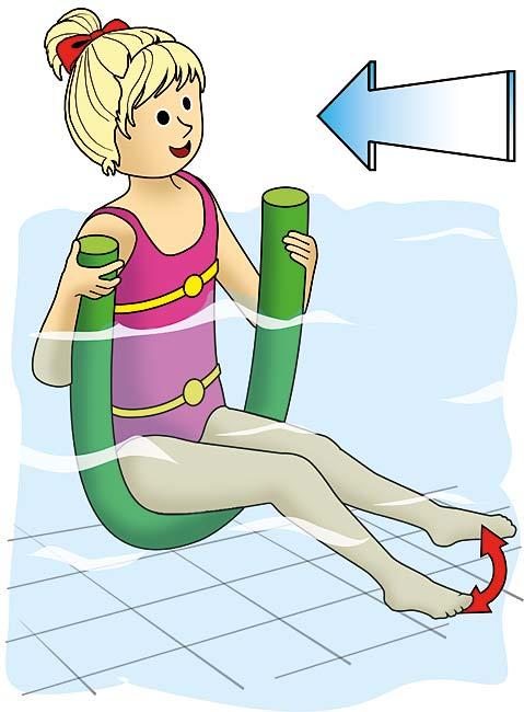 Pool-Nudel beim Schwimmenlernen